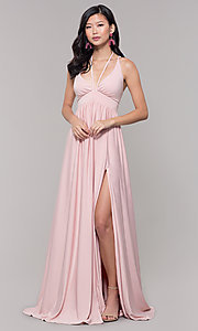 Image of empire-waist long formal prom dress by Simply. Style: SJP-SD-AS108 Detail Image 7