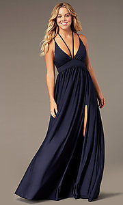 Image of empire-waist long formal prom dress by Simply. Style: SJP-SD-AS108 Detail Image 5