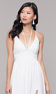 Image of empire-waist long formal prom dress by Simply. Style: SJP-SD-AS108 Detail Image 6