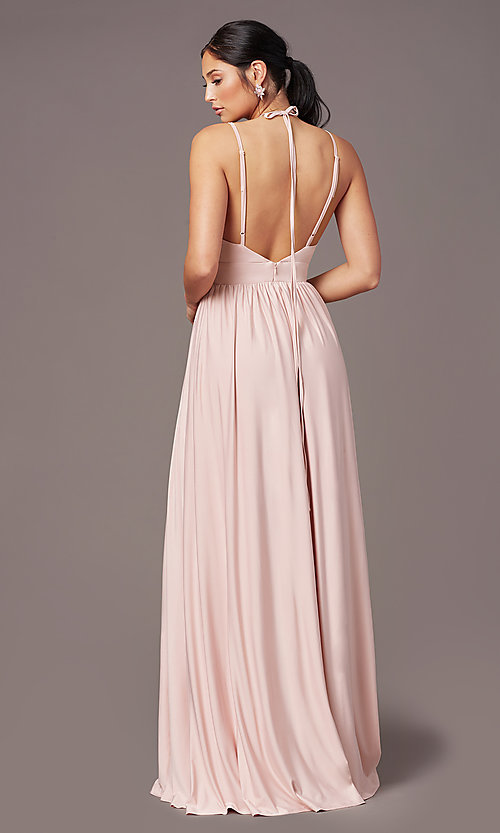 Image of empire-waist long formal prom dress by Simply. Style: SJP-SD-AS108 Back Image