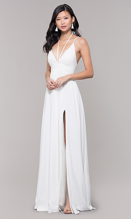 Image of empire-waist long formal prom dress by Simply. Style: SJP-SD-AS108 Detail Image 4