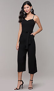 Image of black holiday party jumpsuit with cropped legs. Style: EM-FWL-3405-001 Front Image