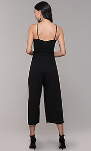 Image of black holiday party jumpsuit with cropped legs. Style: EM-FWL-3405-001 Back Image