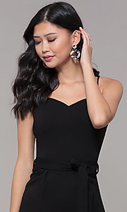 Image of black holiday party jumpsuit with cropped legs. Style: EM-FWL-3405-001 Detail Image 1