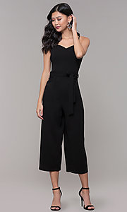 Image of black holiday party jumpsuit with cropped legs. Style: EM-FWL-3405-001 Detail Image 3