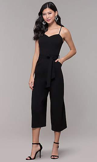 Black Holiday Party Jumpsuit with Cropped Legs