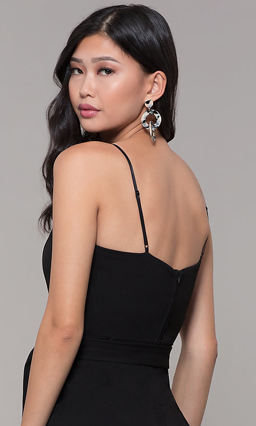 Image of black holiday party jumpsuit with cropped legs. Style: EM-FWL-3405-001 Detail Image 2