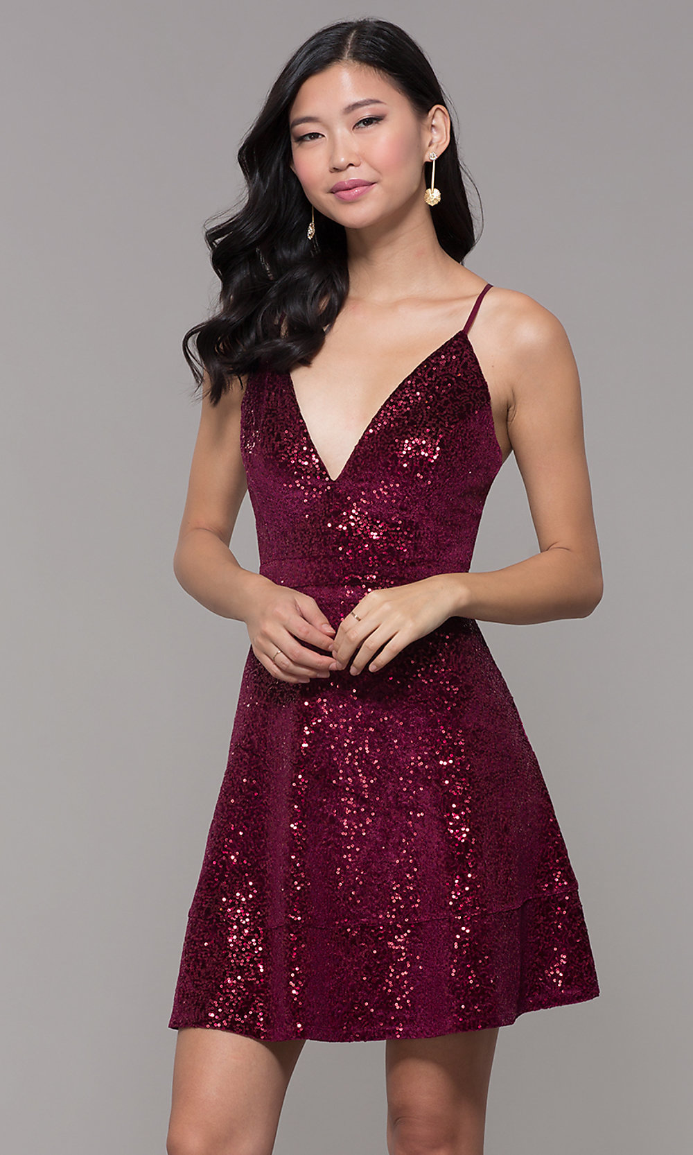 c0b8d4504dd0 Sequin-Velvet Short Holiday Party Dress with Lace