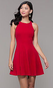 Image of short princess-cut red holiday party dress. Style: EM-FQS-3405-600 Front Image