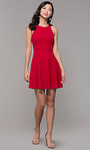 Image of short princess-cut red holiday party dress. Style: EM-FQS-3405-600 Detail Image 3