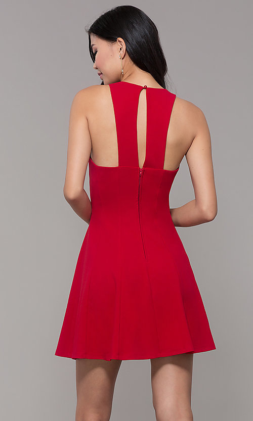 Image of short princess-cut red holiday party dress. Style: EM-FQS-3405-600 Back Image