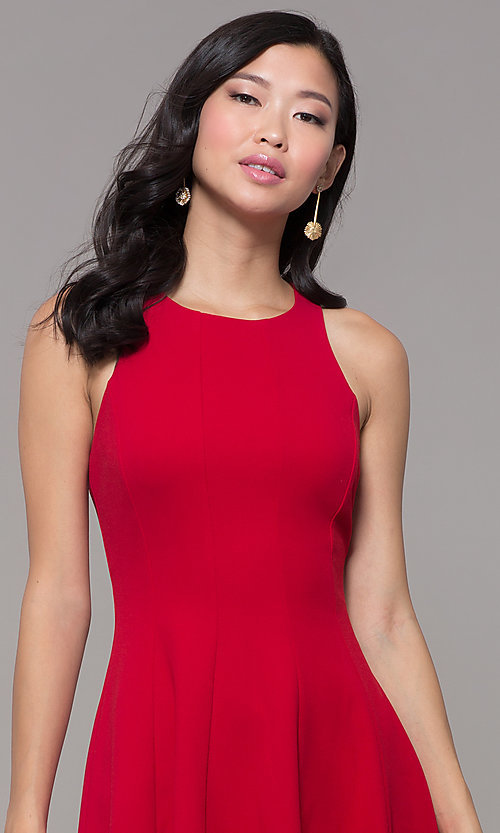 Image of short princess-cut red holiday party dress. Style: EM-FQS-3405-600 Detail Image 1