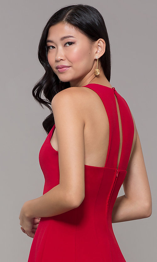 Image of short princess-cut red holiday party dress. Style: EM-FQS-3405-600 Detail Image 2