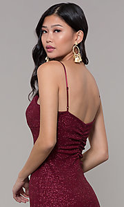 Image of short holiday party dress in wine red glitter knit. Style: EM-FWD-1356-550 Detail Image 2
