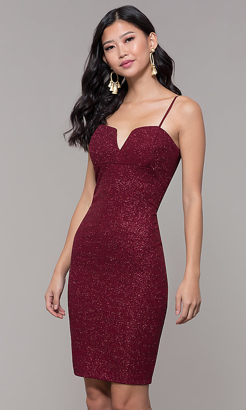 Image of short holiday party dress in wine red glitter knit. Style: EM-FWD-1356-550 Front Image