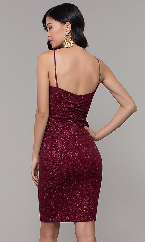 Image of short holiday party dress in wine red glitter knit. Style: EM-FWD-1356-550 Back Image