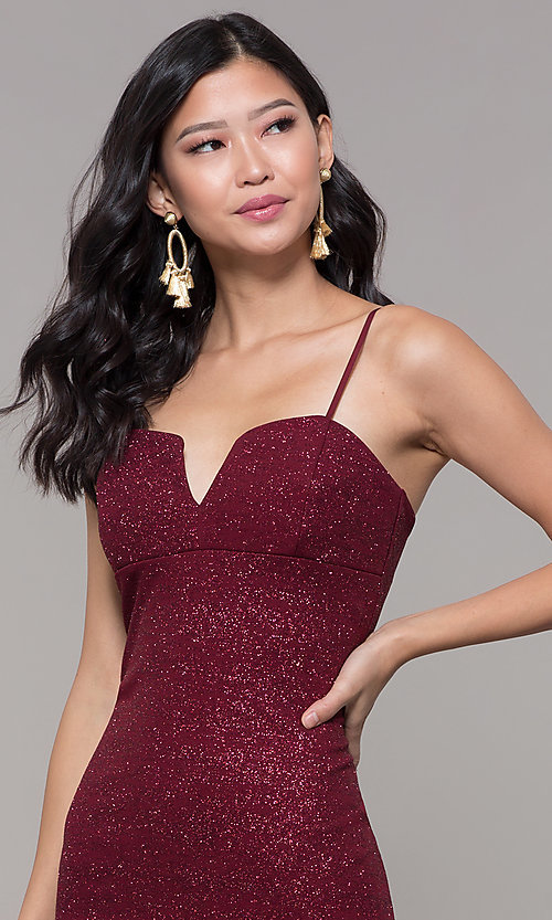 Image of short holiday party dress in wine red glitter knit. Style: EM-FWD-1356-550 Detail Image 1