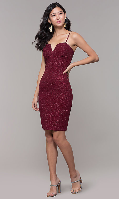 Image of short holiday party dress in wine red glitter knit. Style: EM-FWD-1356-550 Detail Image 3