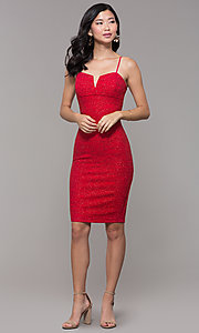 Image of knee-length glitter-knit red holiday party dress. Style: EM-FWD-1356-600 Detail Image 3