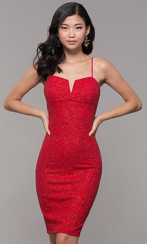 Image of knee-length glitter-knit red holiday party dress. Style: EM-FWD-1356-600 Front Image