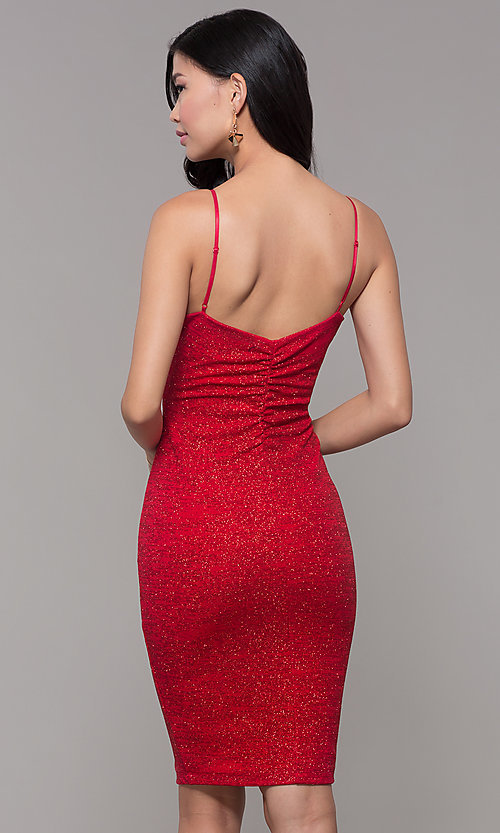 Image of knee-length glitter-knit red holiday party dress. Style: EM-FWD-1356-600 Back Image