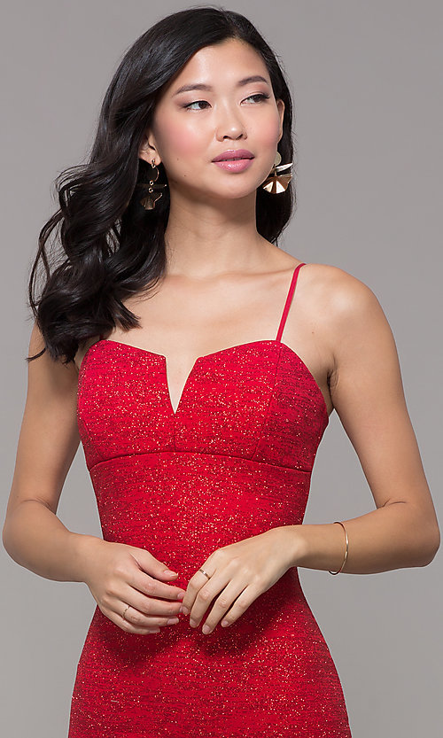 Image of knee-length glitter-knit red holiday party dress. Style: EM-FWD-1356-600 Detail Image 1