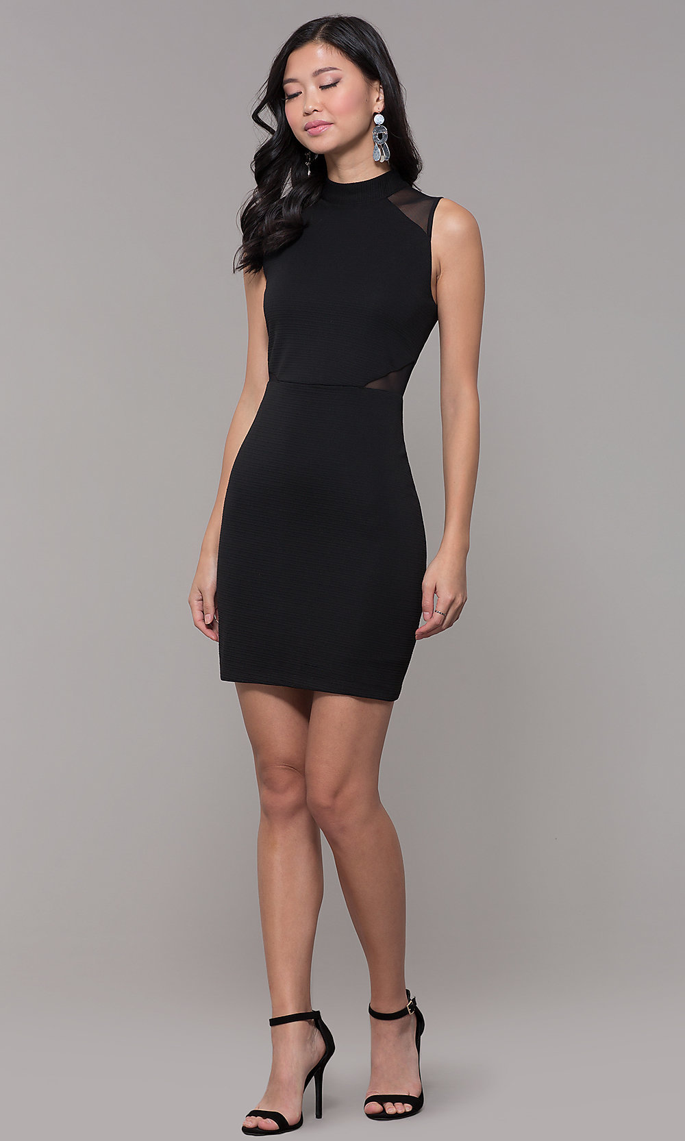 High-Neck Holiday Cocktail Little Black Party Dress