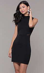 Image of holiday cocktail high-neck little black party dress. Style: EM-HFA-3146-001 Front Image