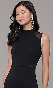 Image of holiday cocktail high-neck little black party dress. Style: EM-HFA-3146-001 Detail Image 1