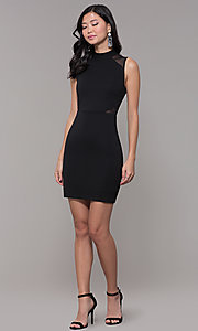 Image of holiday cocktail high-neck little black party dress. Style: EM-HFA-3146-001 Detail Image 3