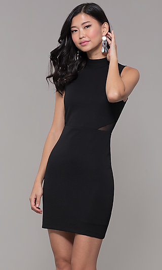 Holiday Cocktail High-Neck Little Black Party Dress