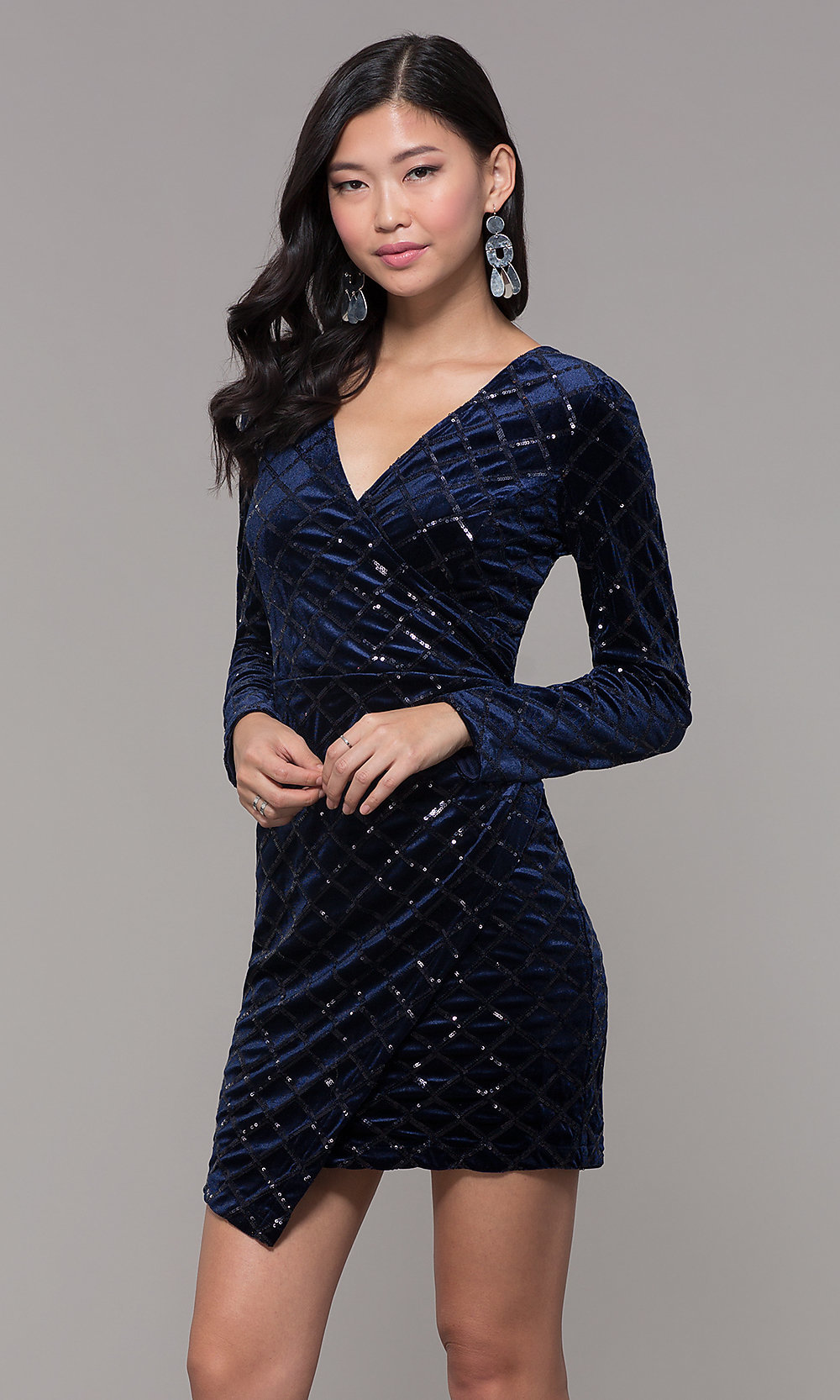 Short Navy Velvet Holiday Party Dress With Sleeves