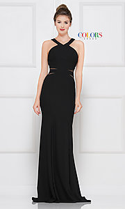 Image of long black formal dress with sheer cut outs. Style: CD-2049 Front Image