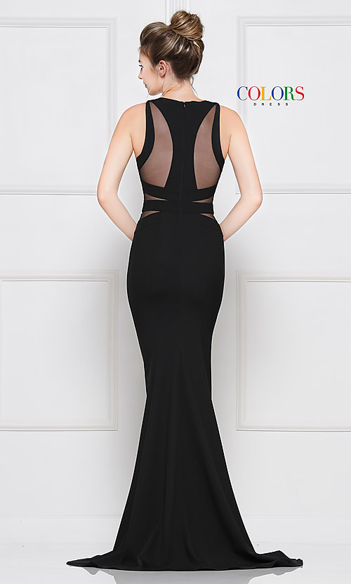 Image of long black formal dress with sheer cut outs. Style: CD-2049 Back Image