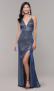 Image of long blue and silver glitter prom dress with train. Style: DMO-J323057 Front Image
