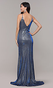 Image of long blue and silver glitter prom dress with train. Style: DMO-J323057 Back Image
