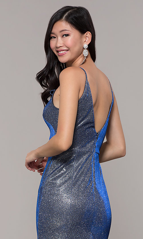 Image of long blue and silver glitter prom dress with train. Style: DMO-J323057 Detail Image 2