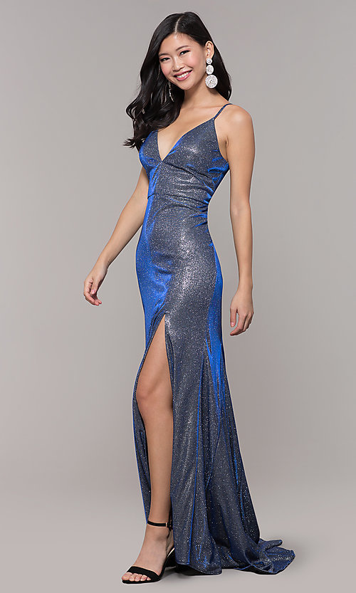 Image of long blue and silver glitter prom dress with train. Style: DMO-J323057 Detail Image 3