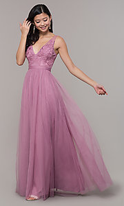 Image of long mauve v-neck prom dress with embroidered bodice. Style: LP-PL-27094-1 Front Image