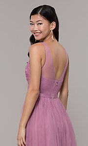 Image of long mauve v-neck prom dress with embroidered bodice. Style: LP-PL-27094-1 Detail Image 2