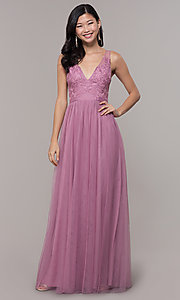 Image of long mauve v-neck prom dress with embroidered bodice. Style: LP-PL-27094-1 Detail Image 3