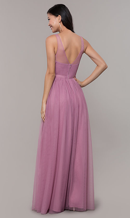 Image of long mauve v-neck prom dress with embroidered bodice. Style: LP-PL-27094-1 Back Image