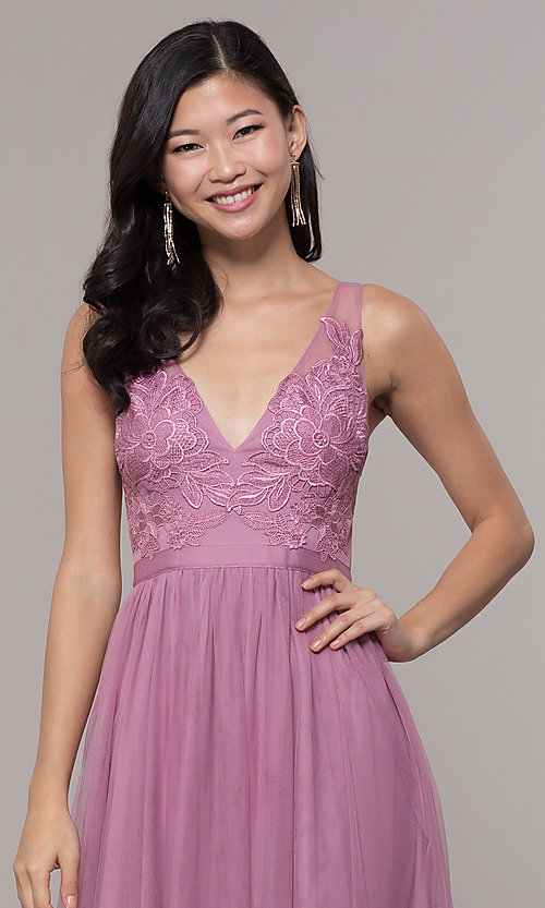 Image of long mauve v-neck prom dress with embroidered bodice. Style: LP-PL-27094-1 Detail Image 1