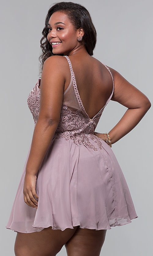 Image of plus-size embroidered-bodice short homecoming dress. Style: DQ-3043P Back Image