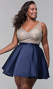 Image of beaded-bodice v-neck short plus homecoming dress. Style: DQ-3092P Front Image
