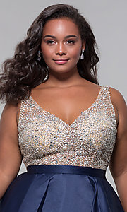 Image of beaded-bodice v-neck short plus homecoming dress. Style: DQ-3092P Detail Image 1