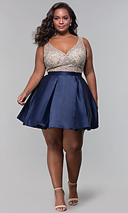 Image of beaded-bodice v-neck short plus homecoming dress. Style: DQ-3092P Detail Image 3