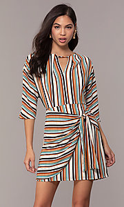 Image of striped short casual party dress with sleeves. Style: EM-FZW-3907-711 Front Image