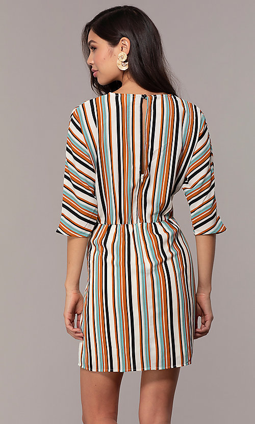 Image of striped short casual party dress with sleeves. Style: EM-FZW-3907-711 Back Image