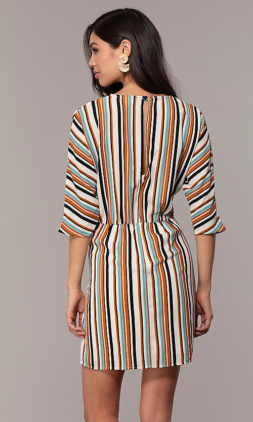 Image of striped short casual party dress with sleeves. Style: EM-FZW-3907-711 Detail Image 1